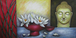 Satthadeva - 48in X 24in,RAJEAR13_4824,Acrylic Colors,Buddha,Peace,Meditation,  - Buy Paintings online in India