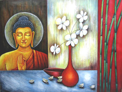 Vesakha - 48in X 36in,RAJEAR14_4836,Acrylic Colors,Buddha,Peace,Meditation,  - Buy Paintings online in India
