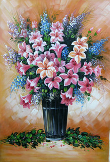 Floral Liberation - 24in X 36in,RAJEAR20_2436,Acrylic Colors,Pottery,Vase,Beautiful Flower in Vase  - Buy Paintings online in India
