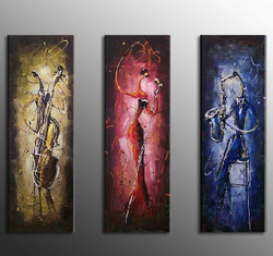 Melodic - 36in x 36in (12in X 36in each X 3pcs),RTCSD_03_3636,Passion,Impress,Multipiece,Museum Quality,music,Instrumental - 100% Handpainted Buy Painting Online in India.
