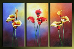 Charming - 48in x 32in (16in X 32in each X 3pcs),RTCSD_07_4832,Multipiece,Museum Quality,Abstract,Fresh,Morning,Floral,Flowers  - 100% Handpainted Buy Painting Online in India.