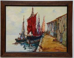 landscape, seascape , stones, rocks, beach, rocks on beach, boats, boat, red boats