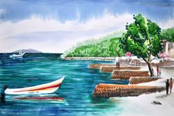 Landscape,Boats,Seascape,Water Bank,River,Tree