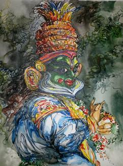 Kathakali - Handpainted Art Painting - 24in X 30in