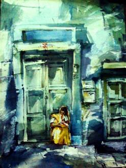 home, door, lady on door , lady, girl