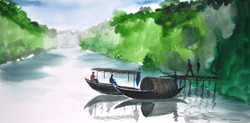 landscape, nature, river, boat, boat in river , people, scenary