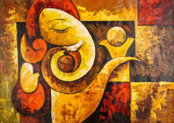 Red and Orange Shade Ganesha - Handpainted Art Painting - 36in X 24in