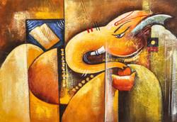 Orange Ganesha with Ladoo - Handpainted Art Painting - 36in X 24in