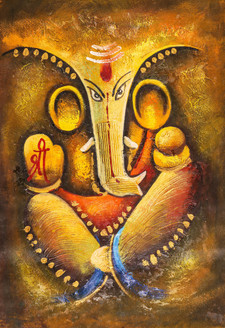 Shree Ganesha - Handpainted Art Painting - 24in X 36in