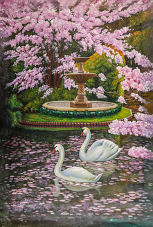 Landscape,Nature,Tree,Swan,Swan Couple,Pink Blossom