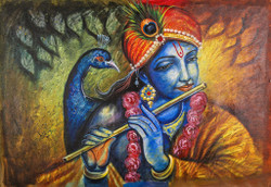 God,Religious,Krishna,Krishna with Flute ,Krishna with Peacock