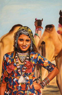 rajasthani paintings,Women,Female,Lady ,Rajasthan,Life in Rajasthan,Rajasthani Woemn,Camel,Desert life