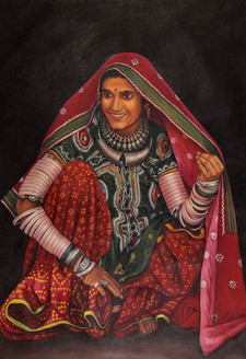 rajasthani paintings,Women,Female,Lady ,Rajasthan,Life in Rajasthan,Rajasthani Women,Desert life,Lady in Red Dhagara