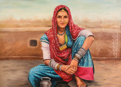 rajasthani paintings,Women,Female,Lady ,Life in Rajasthan,Rajasthani Women,Desert life,Lady setting on floor