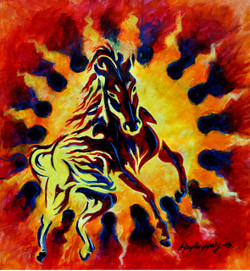 horse, galloping horse, black horse, horse with sun