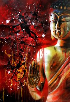 56Buddha04 - 24in x 36in,56Anm87_2436,Community Artist Group,Museum Quality,Buddha,Meditation - 100% Handpainted