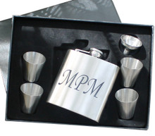 Personalized Silver Flask Set