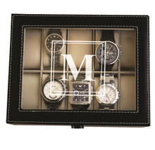 Personalized Black Watch Box with Initial