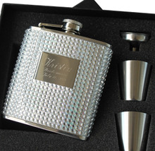 Personalized Silver Bling Flask Set