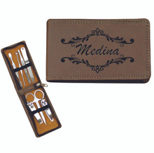 Personalized Manicure Set - Brown Leather - 7 Piece Kit