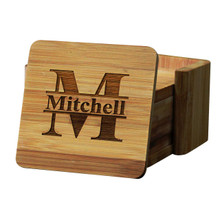 Personalized Bamboo Coasters with Holders - Square 7 Piece Set