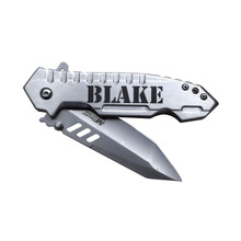 Engraved Pocket Knife with Silver Blade