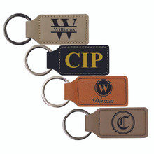 Engraved Leather Keychain - Square