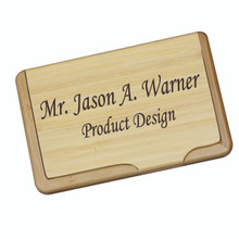 Personalized Wood Bamboo Business Card Case Holder