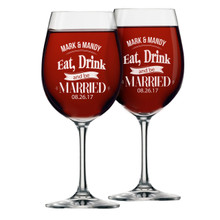 Eat Drink and Be Married Wine Glasses - Set of 2