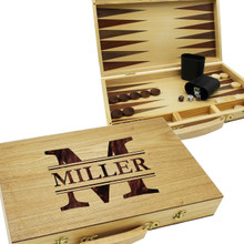 Custom Engraved Wooden Backgammon Set