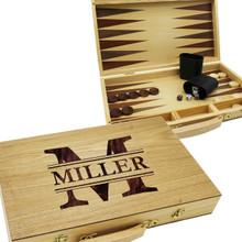 Custom Engraved Wooden Backgammon Set