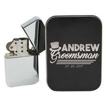 Chrome Flip Top Lighter With Custom Engraved Case