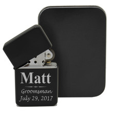 Custom Engraved Personalized Black Flip Top Lighter
