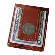 Personalized Brown Leather Wallet/Money Clip Combo