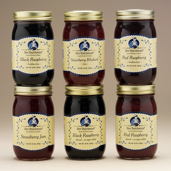 The perfect accompaniment for Sunday dinner rolls, these simply sweet jams are made from the freshest fruits, pure cane sugar, and all-natural ingredients - no preservatives added.  Choose from country favorites including strawberry, strawberry rhubarb, seedless red raspberry and black raspberry - plus no-sugar-added varieties. Available in 16oz jars.