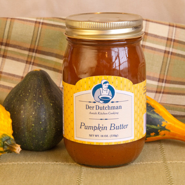 A fall specialty, our Der Dutchman Pumpkin Butter is bound to become a favorite in your home. Made with pumpkin, spices, sugar, vinegar and salt, our pumpkin butter has a smooth texture with just the right flavor of pumpkin and spice. Or, choose our Pecan Pumpkin butter for a slightly different twist on crackers, bread or dinner rolls.  Comes in 16oz jars.