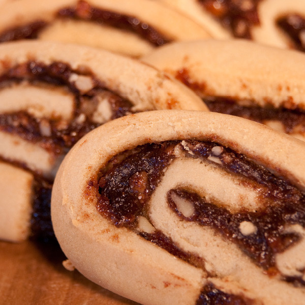 This old-fashioned cookie harks back to Grandma's cookbook. Most often made around the holidays, our pretty date pinwheels are made year round in our bakery. Our Amish bakers have a knack for creating a not-too-heavy cookie and filling it with luscious and rich date/walnut filling.  Each cookie is approximately 3 in diameter.
