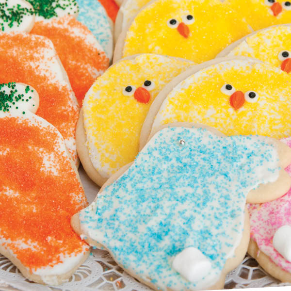 Special for Easter, our Der Dutchman cut-out cookies are soft, sweet and made from scratch. Our cut-out bunnies are decorated with colorful sugar sprinkles and a cute little mini-marshmallow for a tail. Baked and shipped the same day, these buttery cookies are topped with cream cheese frosting and will make you the most popular person in your house or office. Order plenty to share - they disappear quickly!  Homemade in Ohio's Amish Country.