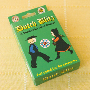 "A family-oriented game, Dutch Blitz is well known in Pennsylvania Dutch and Mennonite circles. The prime object of the game is to build as many cards in sequence - 1 through 10 - in the same respective colors in ""Dutch"" piles, using as many cards from the ""Blitz"" pile as possible. The first player to exhaust his ""Blitz"" pile has ""Blitzed"" his opponents and ended the hand. For two, three or four players."