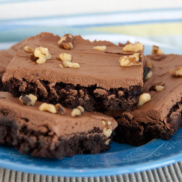 These chocolate brownies are extra moist and rich. In our bakeries, we top these with rich homemade chocolate frosting. In our online store, we ship the frosting separately so you can add it as you like. Comes in a 20 oz package.  Options are with walnuts or without walnuts.  Homemade Brownies are made in Ohio's Amish Country.