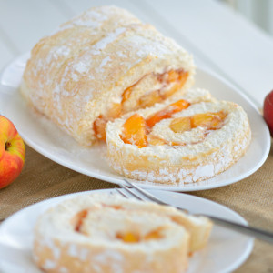 A seasonal variation on an Amish classic, enjoy our fresh peach-filled angel food cake rolls!