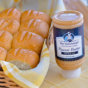 Somethings just go together...that's the case with our Der Dutchman Amish Peanut Butter Spread and our fresh-baked Dinner Rolls. This traditional combo is often served for lunch at Amish Church services and is a great snack for kids.  A great gift idea!