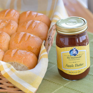 A great gift idea, our freshly-baked Dinner Rolls are paired with old-fashioned Der Dutchman Apple Butter. What a combination!  You'll receive one 16oz Der Dutchman Apple Butter and a dozen Dinner Rolls, with choice of wheat or white.