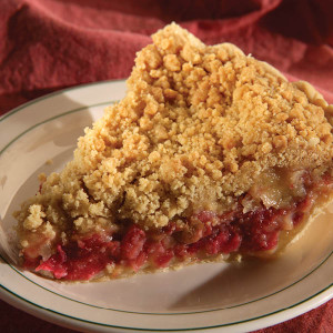 The perfect blend of the tart and tangy young rhubarb with just right amount of sweetness give the pie a smooth taste you won't soon forget. Topped with a homemade crumb topping. We recommend that you serve it warm with a dollop of vanilla ice cream. An Amish Country taste sensation!   Instructions are included. 9 inch pie. Our fruit pie fillings do not contain high-fructose corn syrup or preservatives.
