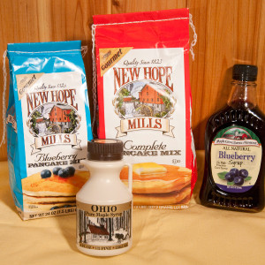 What's for breakfast? Pancakes, of course! Here's the perfect gift for the pancake-lover.  8oz Ohio Maple Syrup 32oz New Hope Pancake Mix 8.5oz Blueberry Fruit Syrup 24oz New Hope Blueberry Pancake Mix