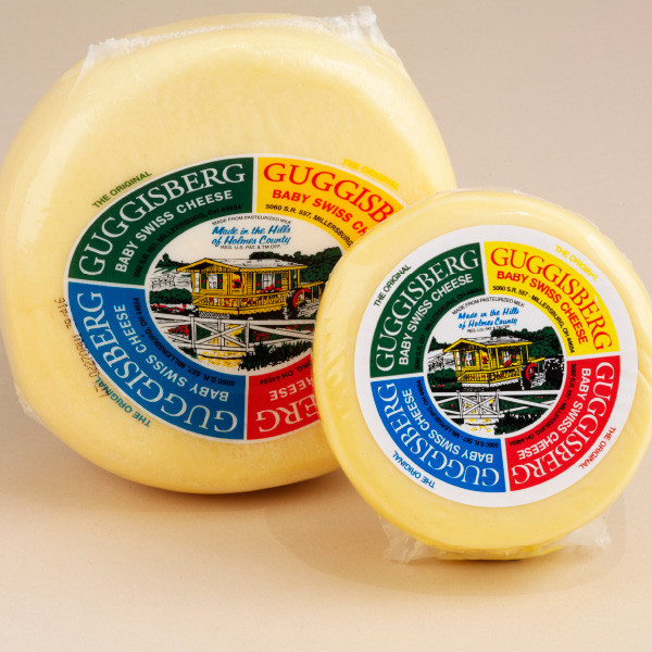 "A delicious semi-soft cheese with a buttery, subtly sweet flavor. Made with whole milk, its shorter curing time results in smaller ""eyes"" and a milder nature than traditional Swiss cheese. An excellent choice for snacks, appetizers, sandwiches, fondues and recipes."