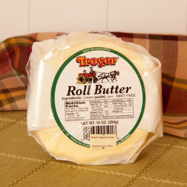 Troyer's Roll Butter is high quality and made from the first cream during the separation of milk. Most butters are made from the whey cream, which is a by-product of the cheese making. Roll butter is known to have a superior taste and consistency to regular grocery store butter. Try it on bread or in your baking! Made in Millersburg, Ohio in Amish Country. RBST-free.  Available in 2lb rolls.
