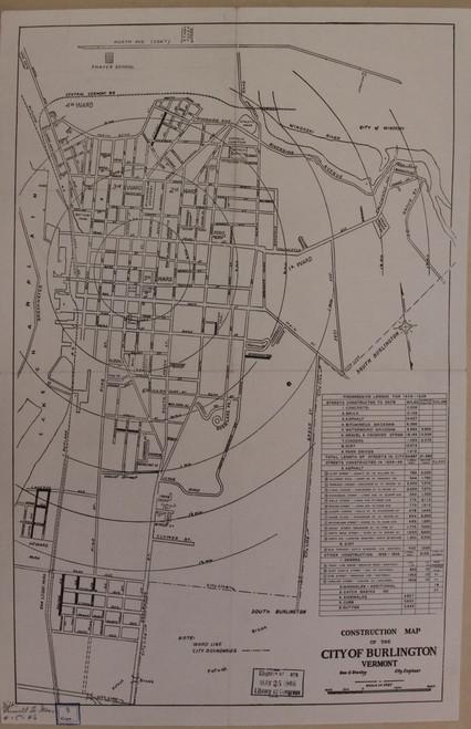 Burlington 1939 Stanley - Old Map Reprint - Vermont Towns Other (Rsch)