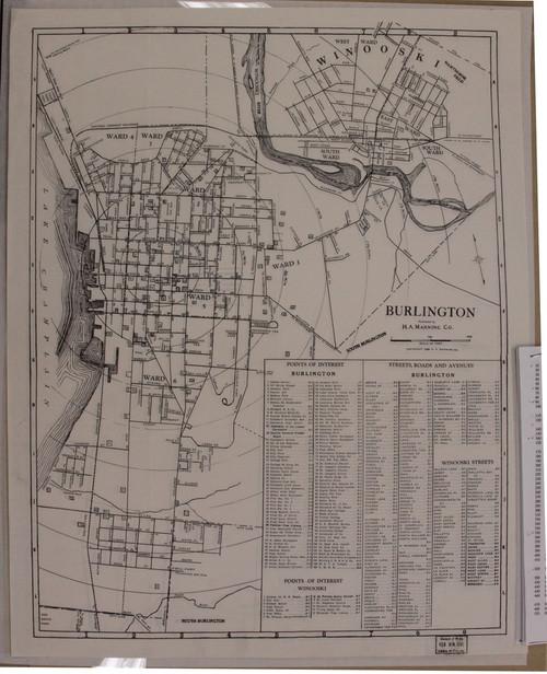 Burlington 1940 Manning - Old Map Reprint - Vermont Towns Other (Rsch)