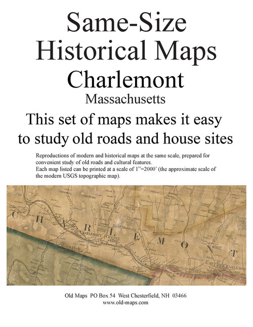 Set of 14 same size Historical Maps - Charlemont MA